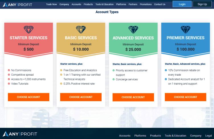 Any1Profit Broker Account Types