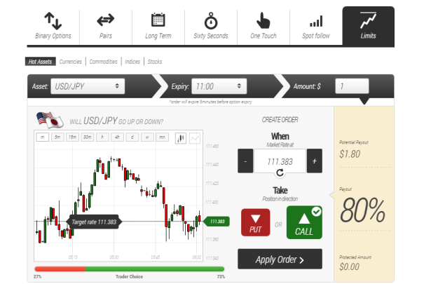 Binary options trading limits