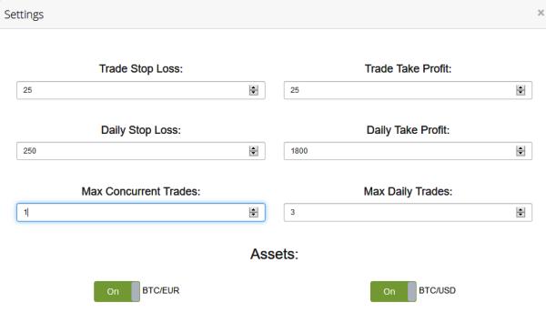 Bitcoin Trade Robot Settings