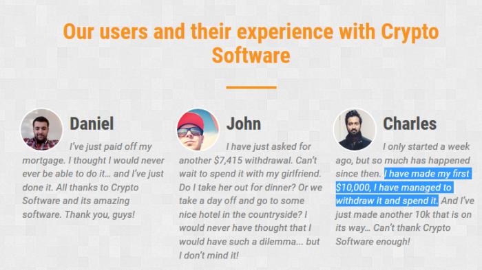 CryptoSoft Fake Software Testimonials
