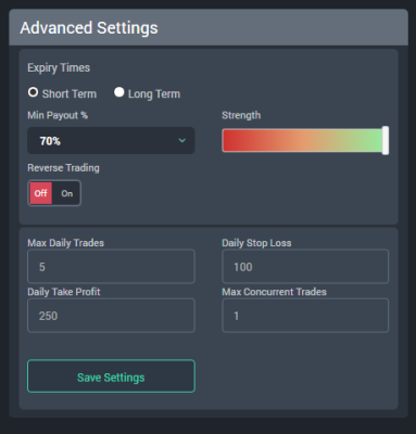 FXMasterBot Software Settings