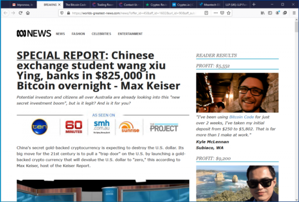 Fake News Website Article
