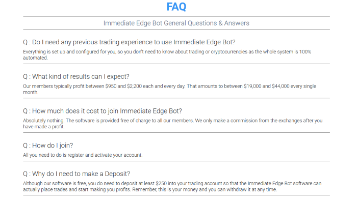 Immediate Edge Bot FAQ