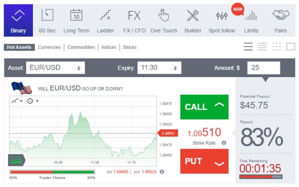 Trading software for binary options