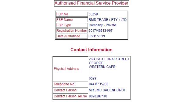 RMDTrader FSCA License