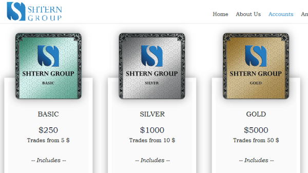 Shtern Group Broker Account Types